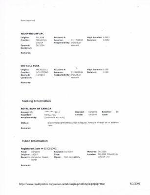 Transunion Credit file RBC Derogatory Info