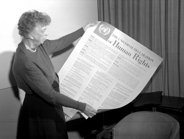 Eleanor Roosevelt with the English version of the Universal Declaration of Human Rights.