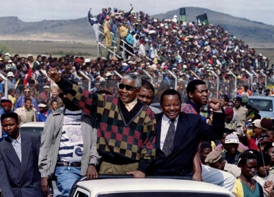 African National Congress (ANC) President Nelson Mandela accompanied by local ANC candidate Terra La..