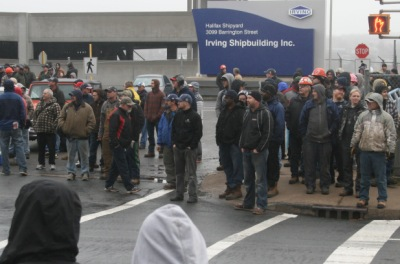 Workers at the Halifax Shipyard walked off the job on Thursday. © Philip Croucher/Metro