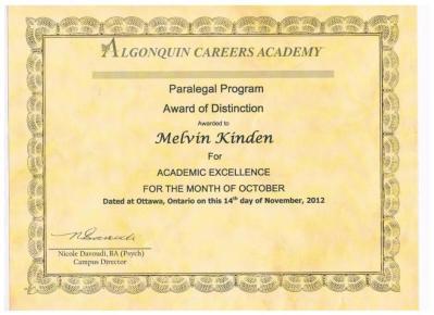 Algonquin Certifcate
