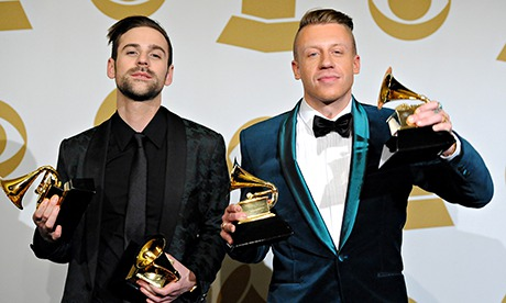 Ryan Lewis and Macklemore pose in the press room during the Grammy awards in Los Angeles on 26 January. Photograph: Steve Granitz/WireImage