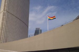 The rainbow flag flies at Toronto city hall. Mayor Rob Ford had ordered the flag taken down but later reversed his position.