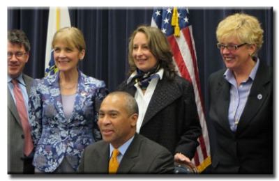 pictured: MA Governor Deval Patrick signs improved anti-bullying legislation into law