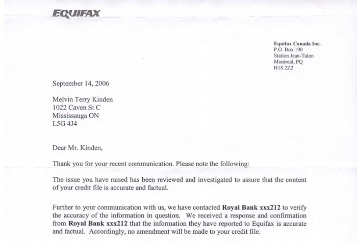 so I sent the evidence above to Equifax to request they remove the derogatory  statement but they refused and sent this notice.