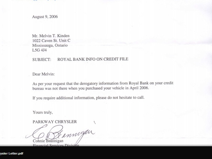 but a letter from the dealership where I purchased my car says it wasn't there just a few month's ago when I purchased my car, RBC says they put it there March 2002 but Parkway chrysler says it wasn't....there