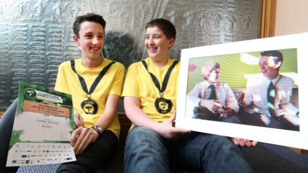 Verdon College pupils Liam van Eeden, left, and Jean-Martin Fabre, both 16 show off their award.