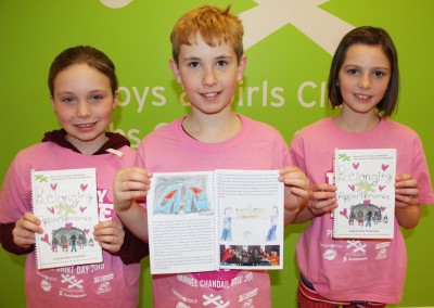 © Adam Brazeau Pictured are Boys & Girls Club of Cornwall/SDG anti-bullying book Belonging-Appartenance contributing authors Bianca Walker, Benjamin Weight, and Melika Marleau at the BGC 506 Clubhouse on Feb. 6, 2015.