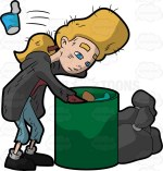 A grownup female person with long ponytailed blonde hair, looking so dirty, wearing a dark gray ragged sweater over a maroon greased sweater, tattered jeans, graying socks without garter, and black shoes, leans down to check and rummage several garbage material inside a green trash can, beside two tied garbage bags, looking to get some food, she throws a blue tin can at her back